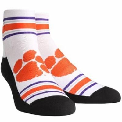Rock Em ロックイーエム スポーツ用品  Clemson Tigers Youth White Classic Stripes Quarter-Length Socks