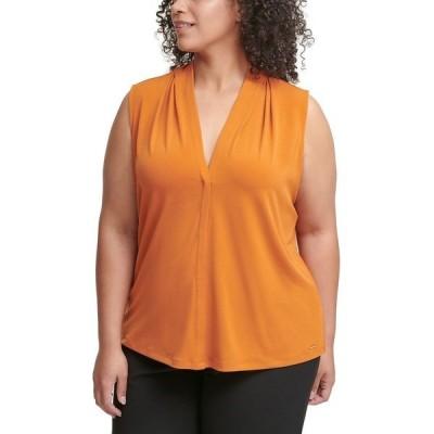 カルバンクライン カットソー トップス レディース Plus Size Ruched V-Neck Top Autumnal Orange