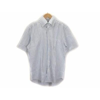 【中古】ポールスチュアート PAUL STUART シャツ ボタンダウン ストライプ 半袖 リネン L 白 ホワイト 青 メンズ