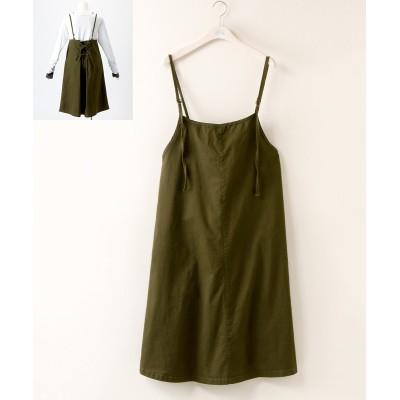 【大きいサイズ】 バックレースアップジャンパースカート ワンピース, plus size dress