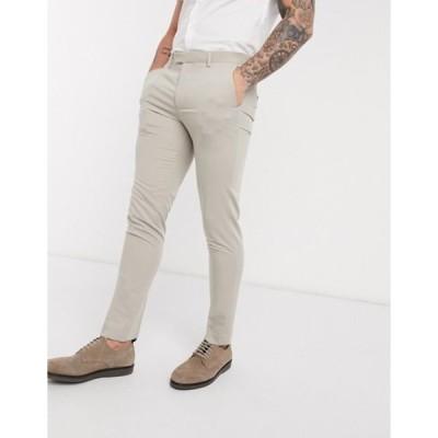 ジャック アンド ジョーンズ メンズ カジュアルパンツ ボトムス Jack & Jones Premium super slim stretch suit pants with recycled polyester in stone