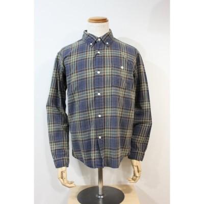 バーンズ barns outfitters vintageウォッシュシャドウシャツ コットンフランネル