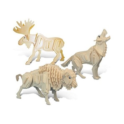Puzzled Wolf, Moose and Buffalo Wooden 3D Puzzle Construction Kit