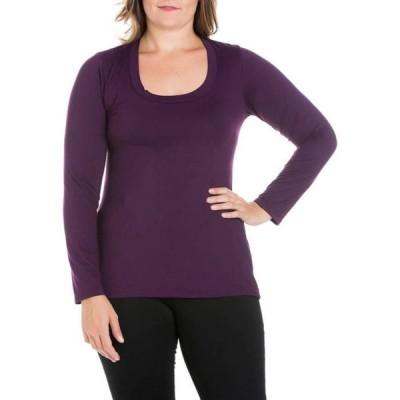 24セブンコンフォート レディース Tシャツ トップス Plus Size Solid Long Sleeve Scoop Neck T-Shirt