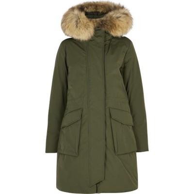 ウールリッチ Woolrich レディース コート アウター military army green fur-trimmed twill parka Green