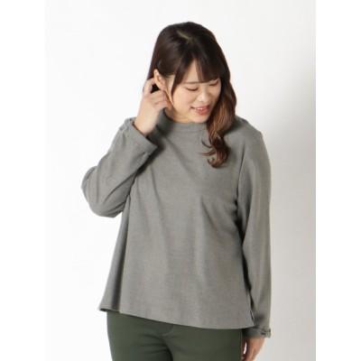 【大きいサイズ】優しい手触りのハイネック風衿ブラウス 大きいサイズ トップス・チュニック レディース