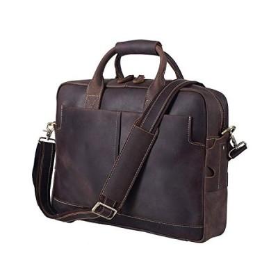 Men Real Leather Bag 16'' Laptop Briefcase Business Shoulder Messenger Tote Bag【並行輸入品】