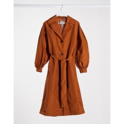 エイソス レディース コート アウター ASOS DESIGN taffeta balloon sleeve trench coat in rust Rust