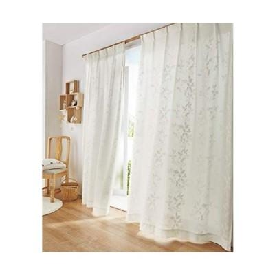 nissen(ニッセン) レースカーテン 明るい 採光 ミラー 透けにくい 遮像 遮熱 UVカット 洗える 通年 オールシーズン 白 リーフ