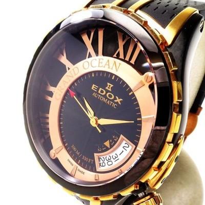 EDOX/エドックス グランドオーシャン 82007-357RN-NIR 裏スケルトン 腕時計 GP/黒ラバーベルト 自動巻き/オートマ ブラック文字盤 メンズ