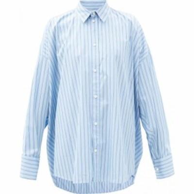 バレンシアガ Balenciaga レディース ブラウス・シャツ トップス Oversized striped cotton-poplin shirt Blue
