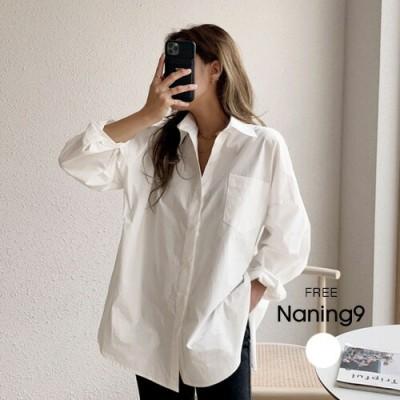≪新作早割15%OFF≫NANING9(ナンニング)モダンムードルーズコットンシャツコットンシャツ シャツ 白シャツ       ホワイト