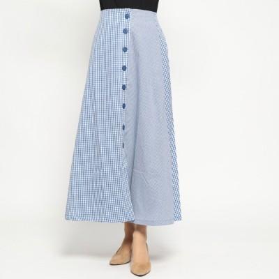 スタイルブロック STYLEBLOCK 先染めギンガムチェックフロント釦スカート (ブルー)