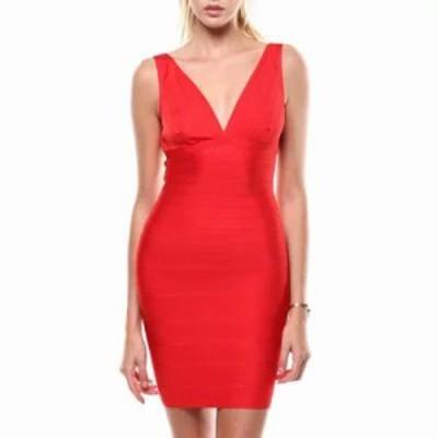 ファッションラボ ボディコンドレス s/l v-neck bandage dress Red