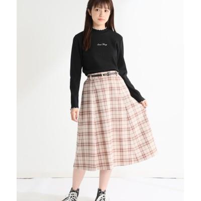 (Honeys/ハニーズ)チェックフレアスカート/レディース ベージュ