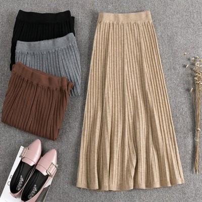 スカート レディース ロングスカート プリーツ ニットスカート おしゃれ 無地 黒 ブラック グレー ベージュ ブラウン