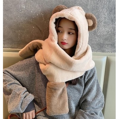 1枚で大人の可愛いさを叶える早い者勝ち 秋 冬 韓国版 ハット スカーフ 手袋 ワン 厚手 クマの耳 小さい新鮮な おしゃれな 百掛け 暖かくしてください 可愛い 漫画 アウトドア