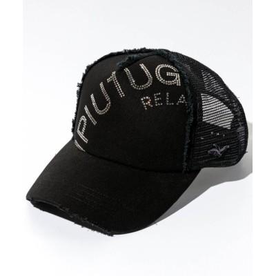 (1PIU1UGUALE3 RELAX/ウノピュウノグアレトレリラックス)1PIU1UGUALE3 RELAX(ウノピゥウノウグァーレトレ)ラインストーンロゴデニムキャップ/メンズ ブラック系1