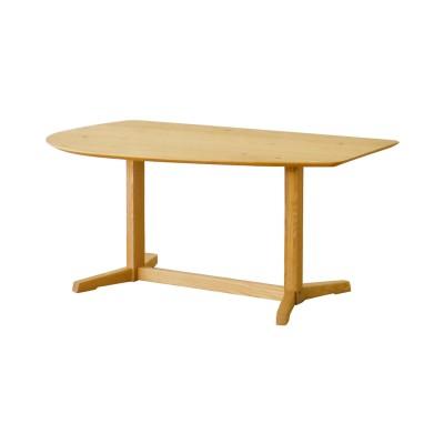 木目が美しいオーク材の変形ダイニングテーブル