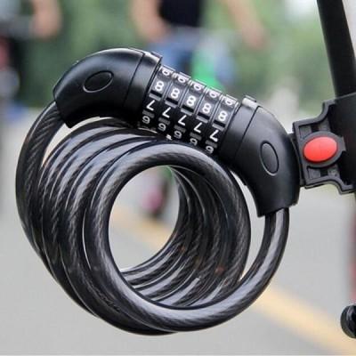 送料無料 バイクロック 5 ビットコード化されたコンビネーション自転車セキュリティロックスチールケーブルスパイラルバイクサイクリング自転車ロック