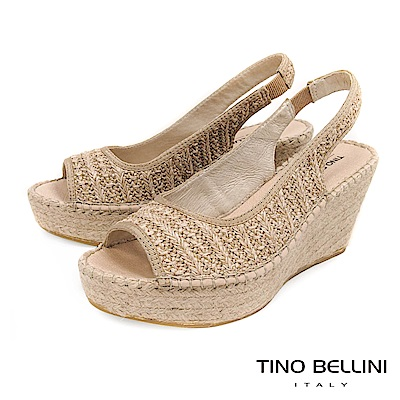 Tino Bellini 西班牙進口棉麻編織藝術魚口楔型涼鞋 _ 淺杏