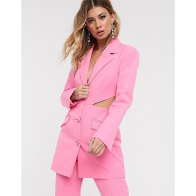 エイソス ASOS DESIGN レディース スーツ・ジャケット アウター cut out side suit blazer with fancy buttons Pink