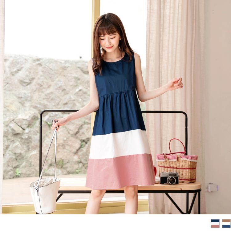 親子系列~溫柔配色高含棉無袖洋裝