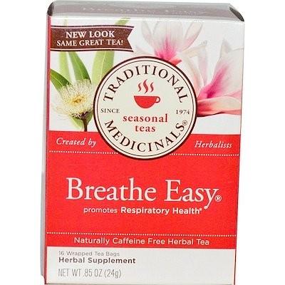 シーズナルティー、ブリーズ・イージー(呼吸をしやすくする紅茶)、カフェインフリー、16ティーバッグ入り、.85 oz (24 g)