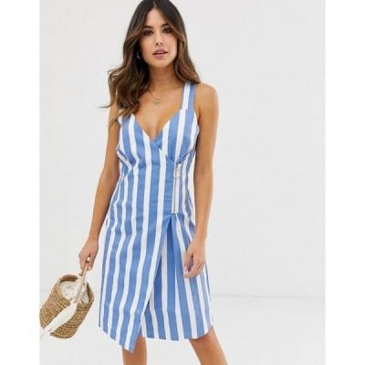 イチ レディース ワンピース トップス Ichi Stripe Wrap Dress With Zip Fastening Lichen blue