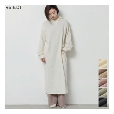 Re:EDIT ロングシーズンシームレスに着られる一着 フード付き裏毛ロングワンピース ワンピース/ワンピース ホワイト M レディース