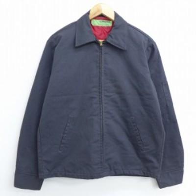 古着 長袖 ワーク ジャケット 90年代 90s USA製 濃グレー 内側キルティング Lサイズ 中古 メンズ アウター ジャンパー ブルゾン ジャケッ