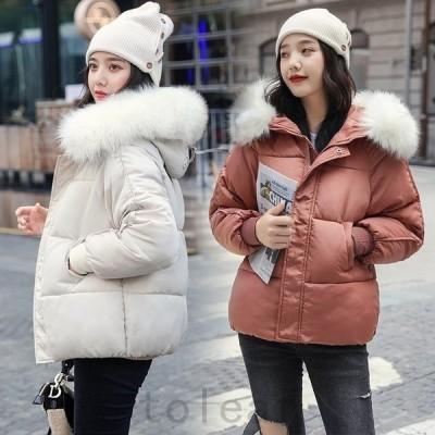 ダウンコートレディース中綿ショート丈フードファー防寒あったかいフェミニン可愛い秋冬