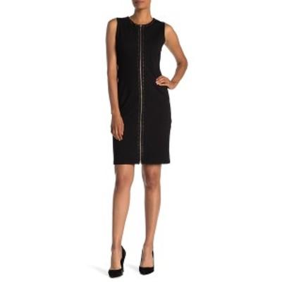 ティー・タハリ レディース ワンピース トップス Studded Zip Front Bodycon Dress BLACK