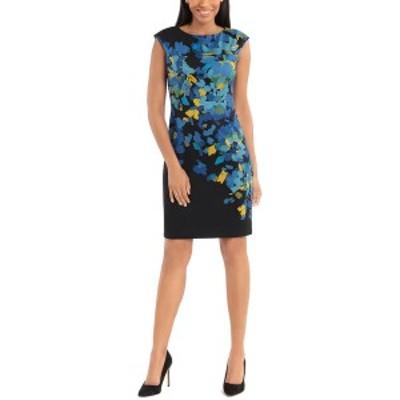 ロンドンタイムス レディース ワンピース トップス London Times Printed Mini Dress black/blue