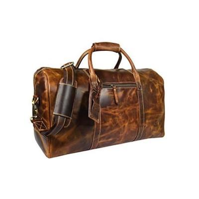 Leather Castle Genuine Vintage Men's Duffel Sports Gym, Travel, Carry-on Luggage Bag, Light Brown 並行輸入品