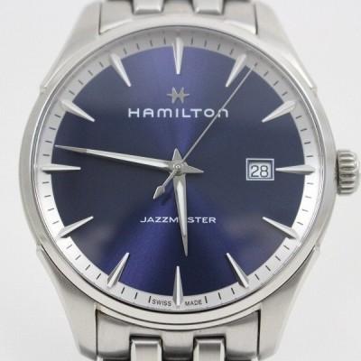 ハミルトン ジャズマスター ジェント メンズ クォーツ 腕時計 青文字盤 純正SSベルト H32451141【いおき質店】