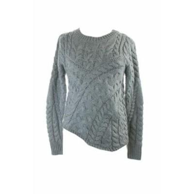 ファッション トップス Kiind of grey sky cable-knit asymmetrical sweater m
