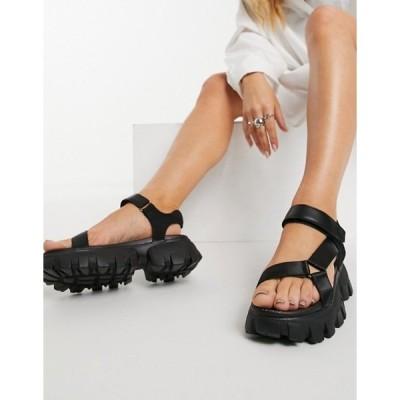 トリュフコレクション レディース サンダル シューズ Truffle Collection super chunky sporty sandals in black