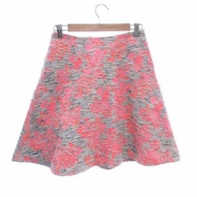 【中古】デミルクス ビームス Demi-Luxe BEAMS フレアスカート ひざ丈 ツイード 花柄 36 グレー ピンク レディース
