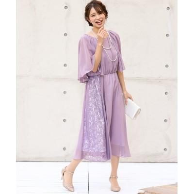 【結婚式。お呼ばれ。二次会】アシメレース&プリーツ使いケープ風ワンピースドレス<大きいサイズ有> ,スマイルランド, 【謝恩会・パーティドレス】Dress