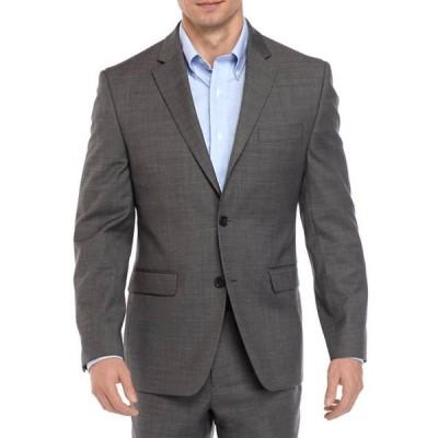 クラウン&アイビー メンズ ジャケット・ブルゾン アウター Big & Tall Gray Sharkskin Stretch Coat