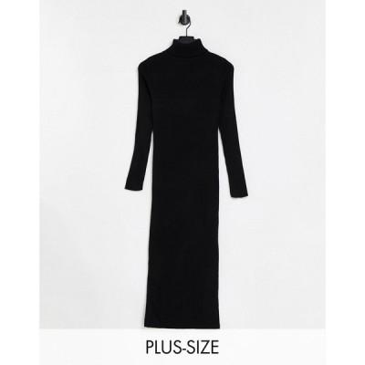ファッションキラー Fashionkilla Plus レディース ボディコンドレス ミドル丈 ワンピース・ドレス Knitted High Neck Midi Bodycon Dress In Black ブラック