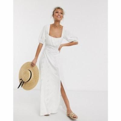 エイソス ASOS DESIGN レディース ワンピース マキシ丈 ワンピース・ドレス square neck broderie prairie maxi dress in white ホワイト