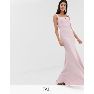 ジャーロトール レディース ワンピース トップス Jarlo Tall square neck maxi dress with built up shoulder in pink