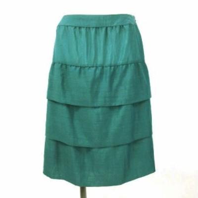 【中古】クリアインプレッション CLEAR IMPRESSION ティアード スカート ひざ丈 グリーン系 3 レディース