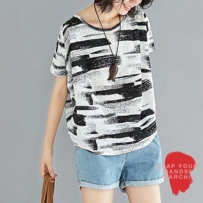 大きいサイズ 対応 おおきいサイズ レディース ファッション かすれペイント柄 プルオーバー Tシャツ トップス M L LL 3L 4L 春夏