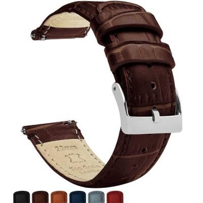 BARTON WATCH BANDS アリゲーターグレイン− コーヒーブラウン−標準長−クイックリリースレザー腕時計バンド 22mm コーヒーブラウン