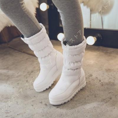 スノーブーツ レディース ダウンブーツ エアクッション 柔らかい レインブーツ 裏起毛 超防寒 雪靴 ドローコード 防水 防滑 軽量 ロングブーツ 厚底 冬用 中綿