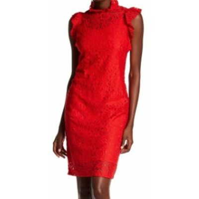 Alexia  ファッション ドレス Alexia Admor NEW Red Womens Size XS Mock Neck Floral-Lace Sheath Dress