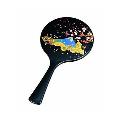 中谷兄弟商会 ミラー 黒 25.6×13.0×0.5cm 丸手鏡 黒 扇面富士